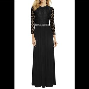 XXL Black formal lace and pleated gown. NWT